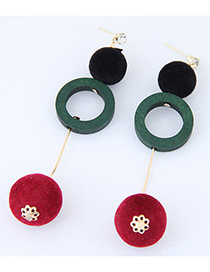 Personality Green+red Round Shape Pendant Decorated Simple Long Chain Earrings