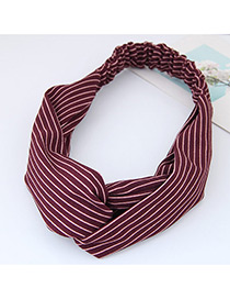 Fashion Red Stripe Pattern Decorated Simple Wide Hair Band