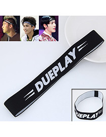 Personality Black Letter Pattern Decorated Simple Wide Hair Band