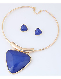 Fashion Blue Triangle Shape Pendant Decorated Simple Jewelry Sets