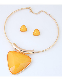 Fashion Yellow Triangle Shape Pendant Decorated Simple Jewelry Sets