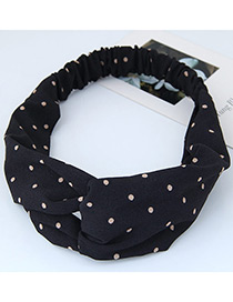 Fashion Black Round Dot Decorated Simple Wide Hair Band