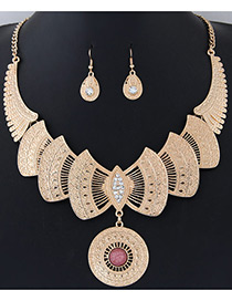 Fashion Gold Color+red Bowknot Shape Decorated Pure Color Simple Jewelry Sets