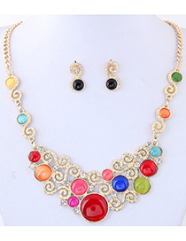 Trendy Multi-color Round Shape Diamond Decorated Hollow Out Simple Jewelry Sets