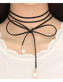 Trendy Black Pearls Decorated Pure Color Multi-layer Simple Necklace