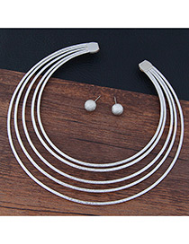 Trendy Silver Color Pure Color Decorated Multi-layer Simple Jewelry Sets