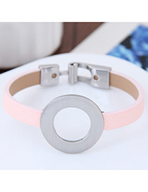 Fashion Pink Round Shape Decorated Color Matching Simple Bracelet