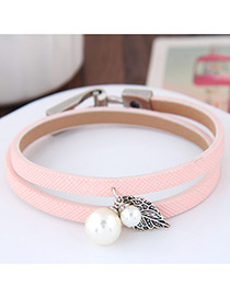 Lovely Pink Metal Leaf &round Shape Decorated Simple Double Layer Bracelet