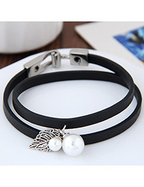 Lovely Black Metal Leaf &round Shape Decorated Simple Double Layer Bracelet