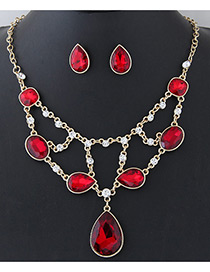 Elegant Red Oval Shape Diamond Decorated Simple Holloe Out Jewelry Sets