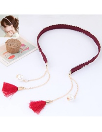 Elegant Red Long Tassel Pendant Decorated Color Matching Hair Clasp