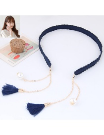 Elegant Navy Long Tassel Pendant Decorated Color Matching Hair Clasp