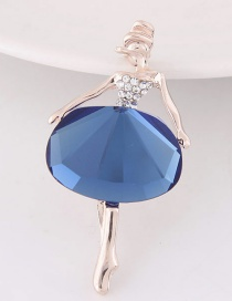 Fashion Dark Blue Ballet Girl Decorated Color Matching Simple Brooch