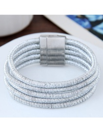Elegant White Pure Color Decorated Multi-layer Magnet Bracelet