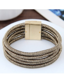 Elegant Gray Pure Color Decorated Multi-layer Magnet Bracelet
