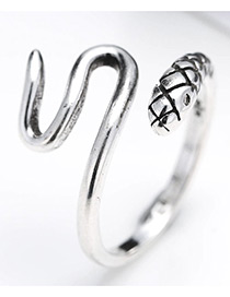 Fashion Antique Silver Pure Color Decorated Snake Shape Opening Ring