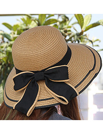 Fashion Khaki Bowknot Decorated Pure Color Sunshade Beach Hat