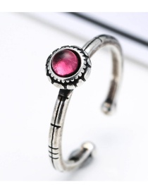 Fashion Antique Silver+pink Round Shape Diamond Color Mtching Opening Ring