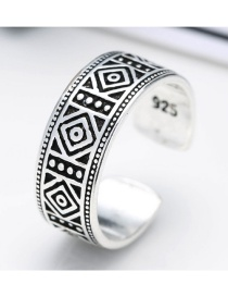Fashion Antique Silver Geometric Shape Pattern Decorated Pure Color Opening Ring