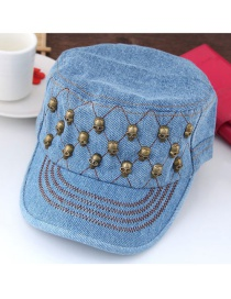 Fashion Light Blue Skulls Decorated Pure Color Simple Peaked Cap
