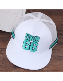 Fashion White +green Letter Pattern Decorated Color Matching Peaked Cap