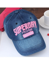 Fashion Blue+pink Letter Pattern Decorated Color Matching Peaked Cap