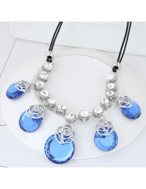 Trendy Dark Blue Round Shape Gemstone Decorated Double Layer Necklace