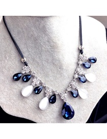 Trendy White+navy Waterdrop Shape Diamond Decorated Color Matching Necklace