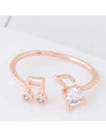Personalized Rose Gold Musical Notation Shape Decorated Pure Color Opening Ring