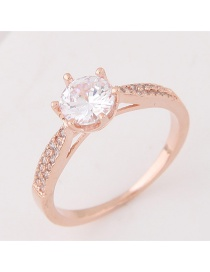 Elegant Rose Gold Round Shape Diamond Decorated Pure Color Ring