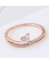 Personalized Rose Gold Flower Decorated Pure Color Simple Ring