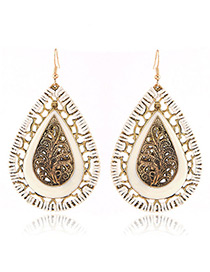 Fashion White Water Drop Shape Pendant Decorated Hollow Out Design Earrings