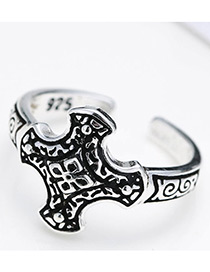 Fashion Antique Silver Pure Color Decorated Irregualr Shape Opening Ring