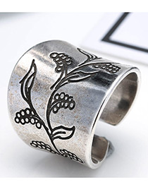 Fashion Antique Silver Flower Pattern Decorated Pure Color Simple Ring