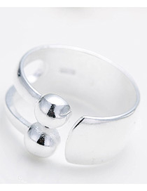Personalized Silver Color Round Balls Decorated Pure Color Opening Ring