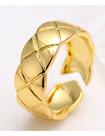Elegant Gold Color Pure Color Decorated Simple Opening Ring