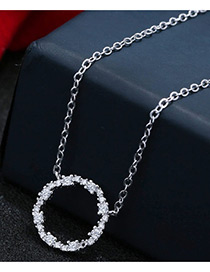 Sweet Silver Color Circular Ring Pendant Decorated Pure Color Necklace
