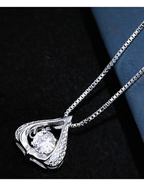 Sweet Silver Color Water Drop Shape Diamond Decorated Pure Olor Necklace
