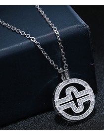 Sweet Silver Color Diamond Decorated Pure Color Hollow Out Design Necklace