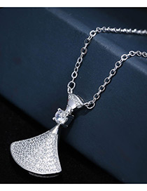 Sweet Silver Color Diamond Decorated Pure Color Simple Design Necklace