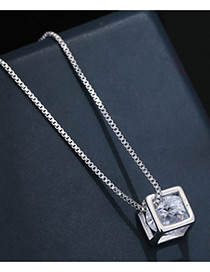 Sweet Silver Color Square Shape Diamond Decorated Pure Color Necklace