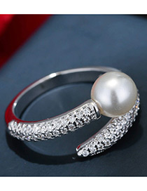 Trendy Silver Color Pearl&diamond Decorated Color Matching Opening Ring