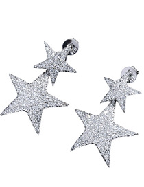 Elegant Silver Color Full Diamond Decorated Star Shape Pure Color Earrings