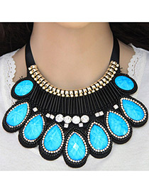 Fashion Blue Water Drop Diamond Decorated Pure Color Collar Necklace