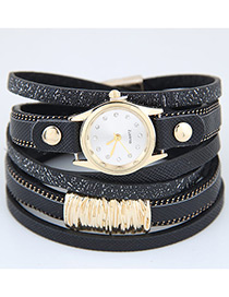 Trendy Black Pure Color Decorated Multi-layer Simple Watch