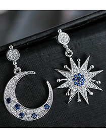Fashion Silver Color+dark Blue Moon&star Shape Decorated Color Matching Simple Earrings
