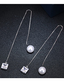 Fashion Silver Color Pearl&diamond Decorated Pure Color Simple Earrings