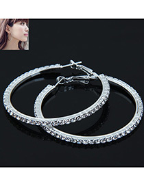 Elegant Silver Color Full Diamond Decorated Circular Ring Shape Earrings