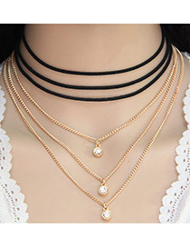Fashion Black+gold Color Diamond Decorated Multi-layer Chain Design Simple Necklace