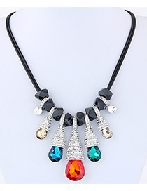 Fashion Multi-color Waterdrop Shape Decorated Multi-color Simple Necklace